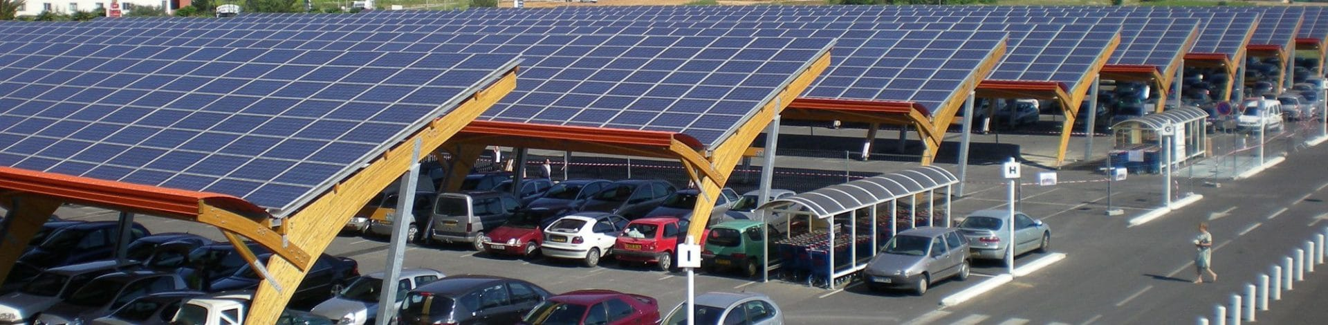 Install photovoltaic station on parking shades