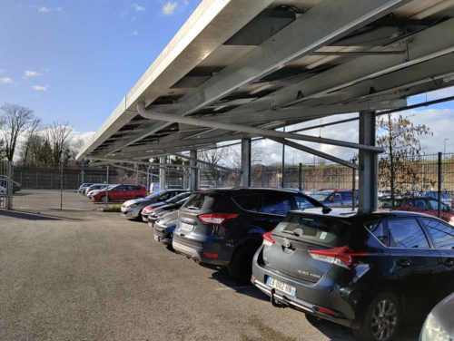 Ombrière photovoltaïque, éclairage et système de récupération des eaux pluviales Made by Sunvie - Tramway de Besançon